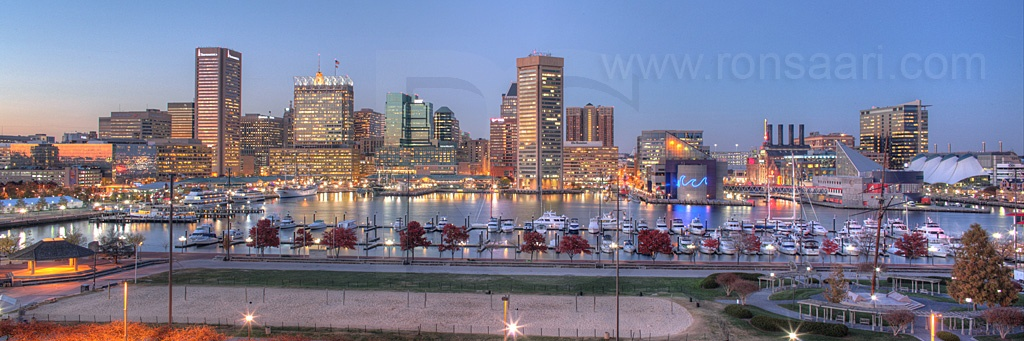 Baltimore Skyline At Dusk Panoramic 2