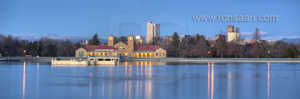 City Park and Denver Skyline At Dawn Panoramic