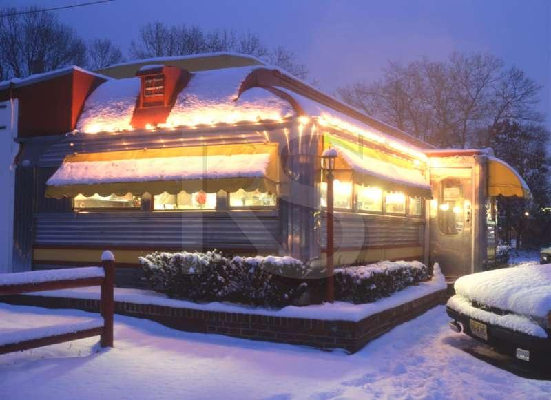 Roadside Diner, in Snow