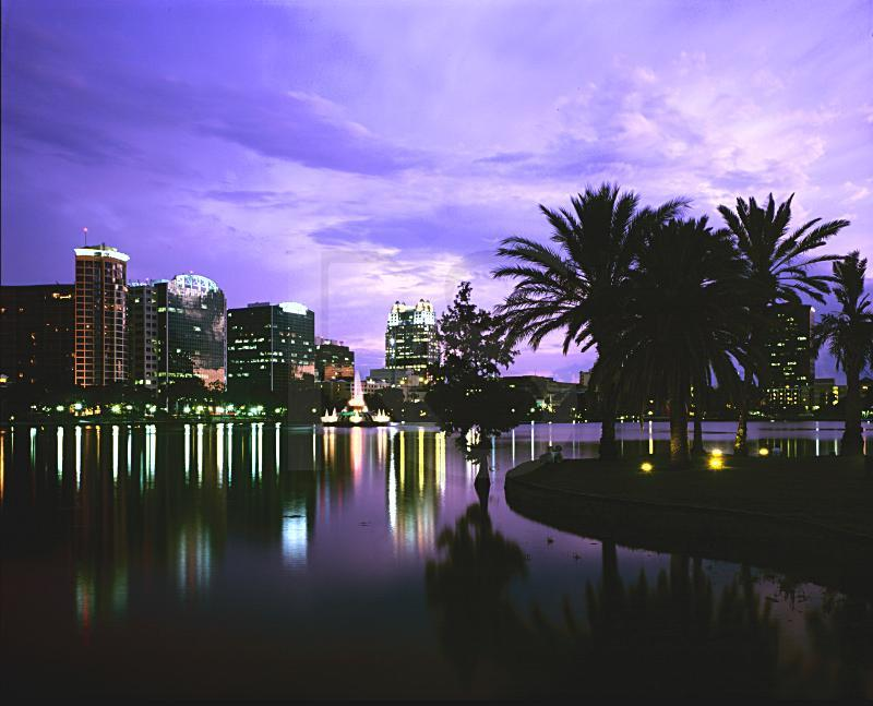 Downtown Orlando Skyline at dusk from Lake Eola