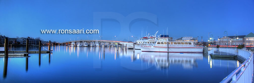 Belmar marina and route 35 bridge panoramic 2 for Big mohawk fishing boat
