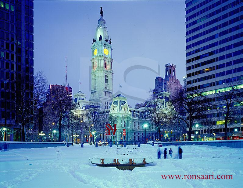 Love Park And City Hall in Winter