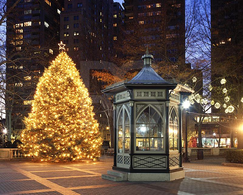 Rittenhouse Square Gazebo and Christmas Tree