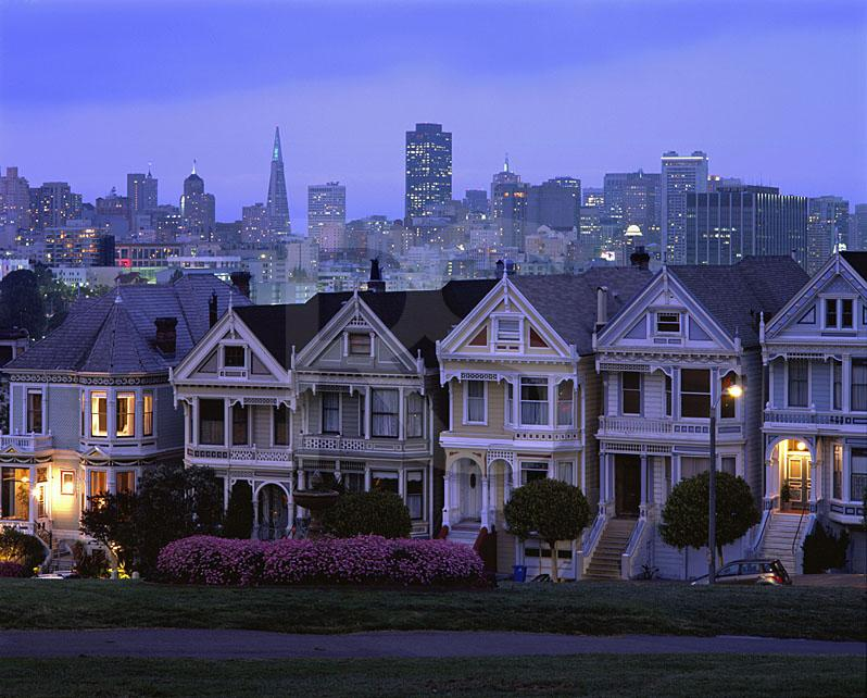 Painted Ladies At Alamo Square, At Dusk