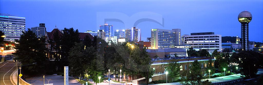 Knoxville Skyline At Dusk Panoramic